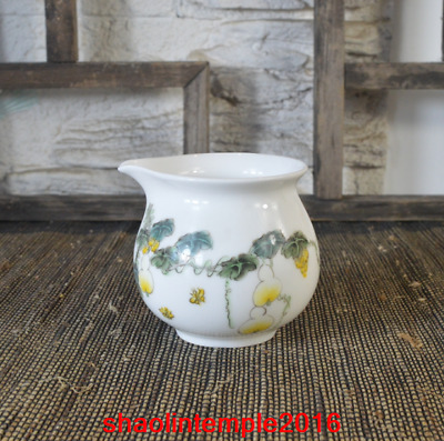 China All manual Hand drawn White glaze Pastel gourd Kungfu teacup