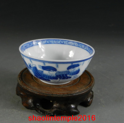 China Qing Dynasty Qianlong Blue and white Mandarin duck pattern Teacup