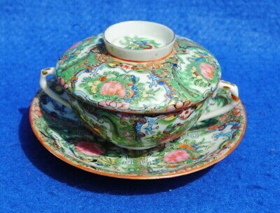 Antique Chinese Canton Famille Rose Cup Saucer & Cover Decorated Dragons Birds C