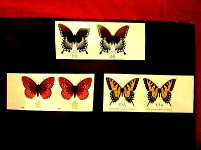 Cpl. butterflies #4736a, 4859a & 4999a imperforate pairs vf NH