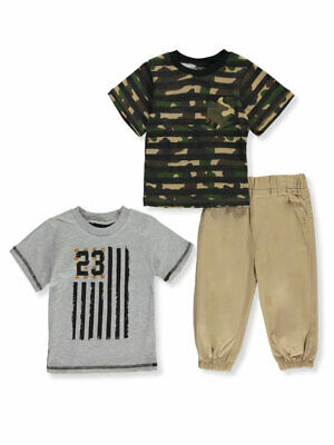 Quad Seven Baby Boys Chambray Palm Trees 2-Piece Pants Set Outfit