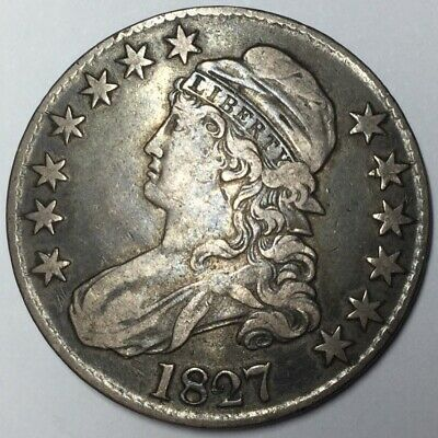 1827 50C Capped Bust Half Dollar VF-XF Uncertified #
