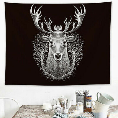 Deer Head 3D Print Black And White Tapestry Wall Hangings Room Home Decoration
