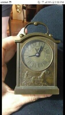 Antique Small Brass Carriage Clock With Ornately Carved Case-Heavy for its size