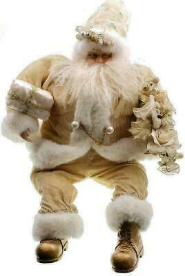 Huge 33x20 inch Santa Claus Figure Figurine Gold Christmas Father Gold