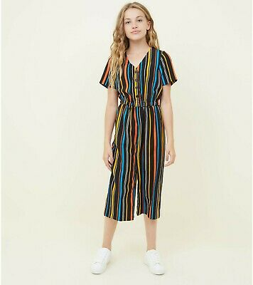 NEW LOOK Girls rainbow stripe button up culotte jumpsuit Age 13 years BNWOT