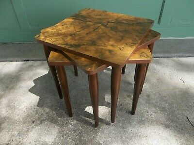 Set of 3 Mid Century Danish Modern Faux Marble Formica Stacking Nesting Tables