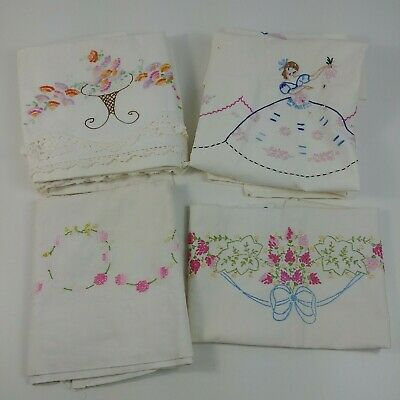 Vintage Embroidered Pillowcases Sets Pink Purple Orange Blue Floral Needlepoint