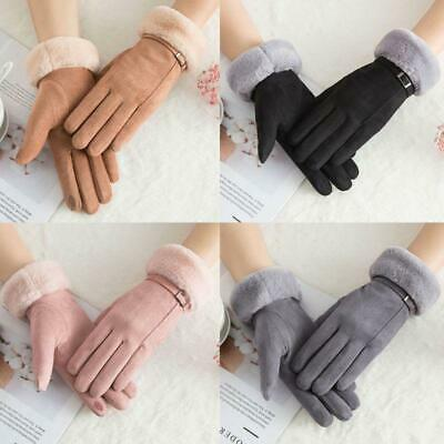 1 Pair Women Suede Gloves Winter Wram Touch Screen Driving Ski Windproof Glove