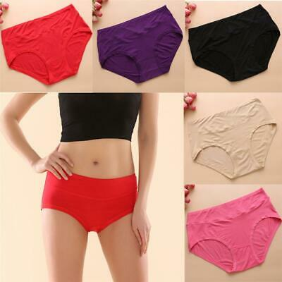 Women Underpants Solid Soft Antibacterial Bamboo Fiber Seamless Underwear