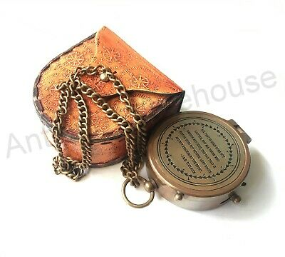 Antique Brass Working Compass With Leather Case Vintage Marine Decorative
