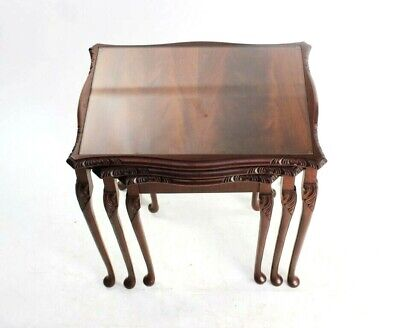 Vintage Flamed Mahogany Nest of 3 Tables - FREE Shipping [5767]