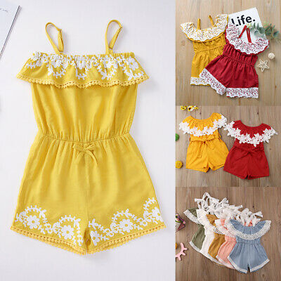 Toddler Baby Kids Girl Lace Floral Ruffle Romper Jumpsuit Outfits Summer Clothes