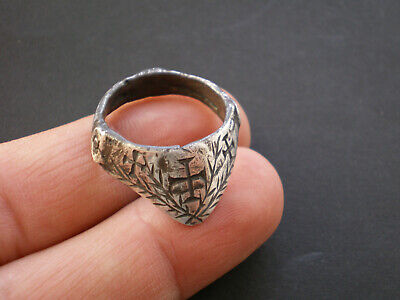 Very Rare Legionary Ancient Roman-Byzantine Archer Silver Ring