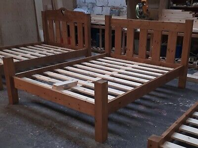 Handmade Chunky Solid Pine Slatted Bed Frame with Low Toe & Elongated Posts