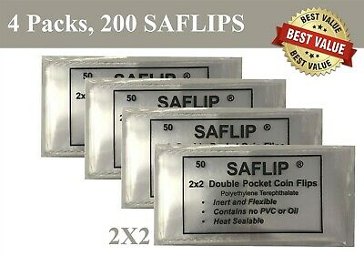 2x2 Coin Flips Saflips 200 Double Pocket Mylar Holders 4 Packs Combo Deal Lot