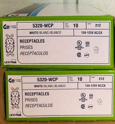 20 Leviton Residential Outlets 5320-WCP White 15A-125V NIB