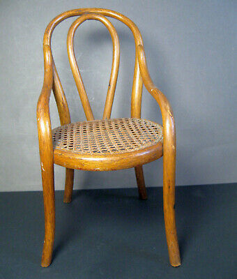 "13"" Antique Bent Oak Caned Chair - Salesman Sample - small, miniature, dollhouse"