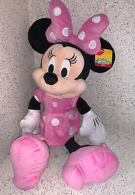 """Disney Minnie Mouse Large 20"""" Plush Pink Polka Dot New With tags"""