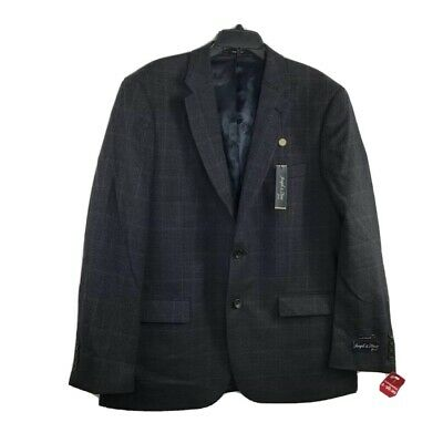 Joseph & Feiss Mens Two Button Sports Coat Gray Plaid Flap Pockets Wool 44R New