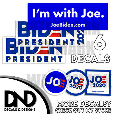 Joe Biden For President 2020 Democratic Bumper Sticker - 6 PACK