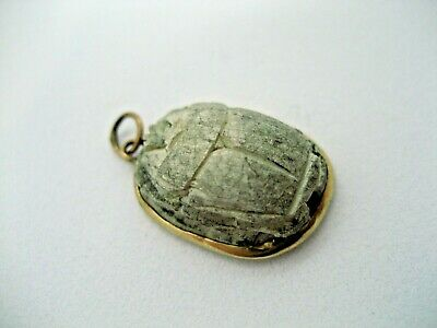Vintage Egyptian Revival 8 K Gold  Carved Faience Scarab Beetle Pendant