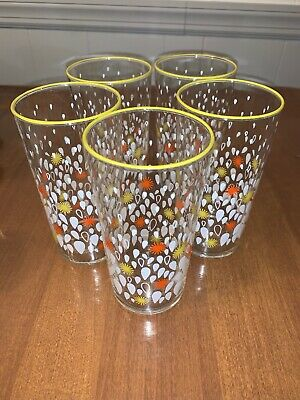 Mid Century Modern Drinking Glasses Starbursts Rain Drops Yellow Orange. Vintage