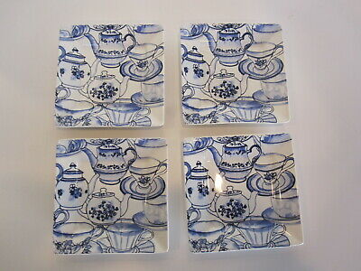 "222 Fifth Tea Party 5 1/2"" Square Ceramic Appetizer Dessert Plates, set of 4"