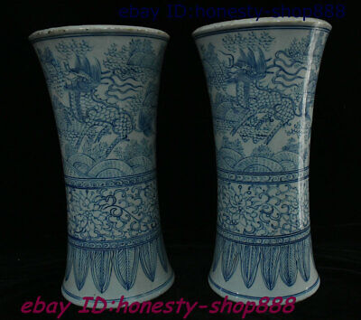 Old China Porcelain Blue Kylin Chi-lin Qilin Flower Bottle Wine Vase Flask Pair