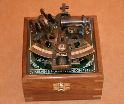 Maritime Brass Sextant Nautical Astrolabe WORKING Wood Box Collectible