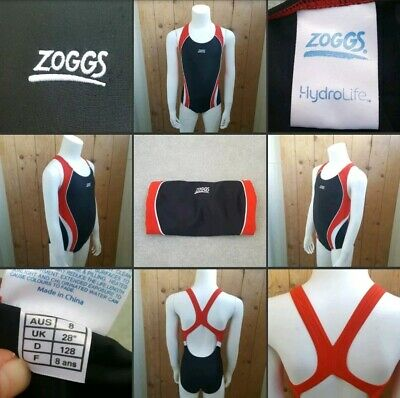 *Used* Bobbles~Navy Blue & Red▪ZOGGS▪Girls Swimsuit~Swimming Costume~Age 8 Years
