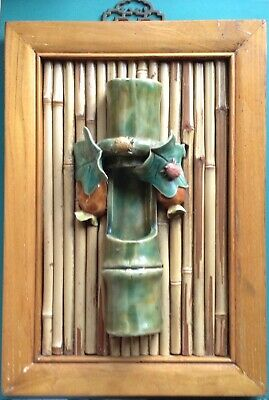 Vintage handcrafted Hanging Ikebana Vase mounted on old door on bamboo heavy