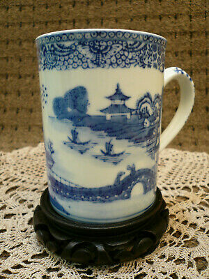 """Chinese porcelain white blue hand painted shaving mug cup 5"""" tall, 3.5"""" diameter"""