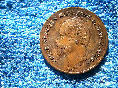 Sweden: 1858 Over 1857 Very Scarce Copper 2 Ore About Extremely Fine