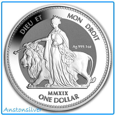 2019 British Virgin Islands Una & The Lion Frosted - BU Reverse Proof Silver