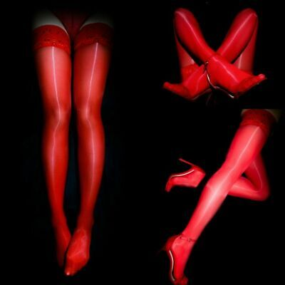 Women 8D Ultra Shiny Glossy Lace Top Silicone Stay Up Nylon Thigh High Stockings