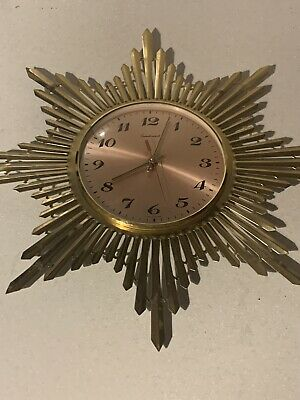 VINTAGE/ANTIQUE MID CENTURY 60s GERMAN Brass Metal SUNBURST WALL CLOCK