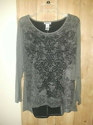 Hannah Womens Black & Gray Top w Floral Design Size Large