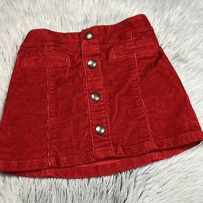 Old Navy Red Toddler Girls Corduroy Button Skirt 3T Winter Christmas