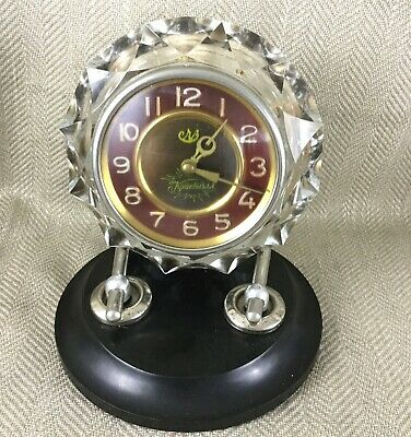 Vintage Russian Art Deco Desk Mantle Clock Glass Crystal USSR Soviet Retro