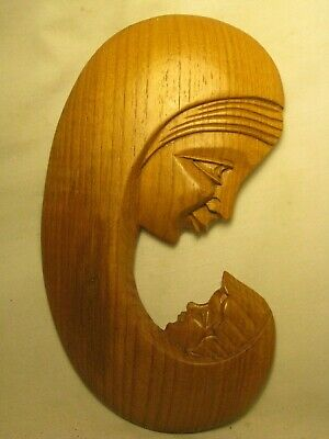 carved hard wooden mother child wall decor Virgin Mary Baby Jesus wood art