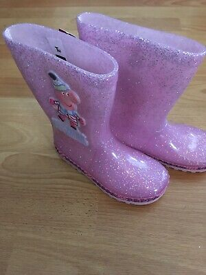 BNWT Girls Pink Glitter Peppa Pig wellies UK Size 10