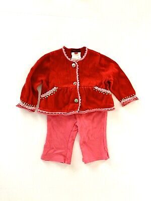 Catimini & TEA Pink 3PC LOT Set Outfit Top Pants Sweater Christmas Size 3-6M