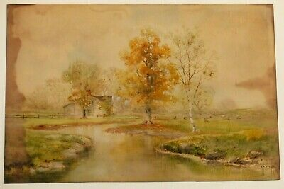 Antique C.b. Drake Gouache Painting Pastoral Farm Landscape With Grazing Sheep