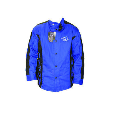 BSX Flame-Resistant Welding Jacket - Blue with Blue Flames 2XL