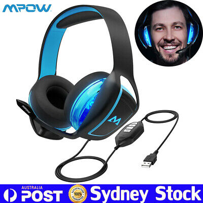 Mpow USB Gaming Headset Microphone LED Headphone for PC PS4 Xbox One Nintendo AU