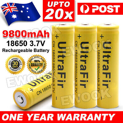4/20x 18650 Li-ion Battery 3.7V 9800mAh Rechargeable Flat Top Battery for Torch