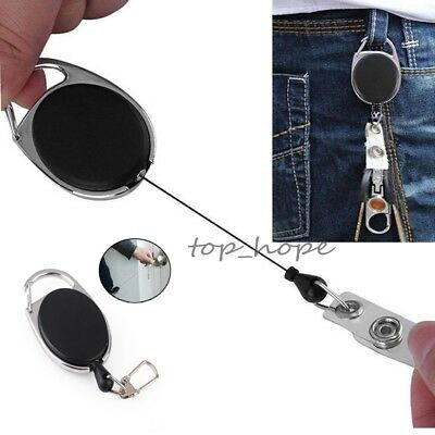 Round Recoil ID Badge Lanyard Retractable Reel Tag Key Card Holder Belt Clip HV
