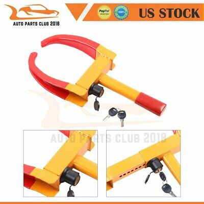 2xkeys & 1xCar Tire Wheel Lock Clamp Boot Tow Truck Trailer Auto Safety Chock