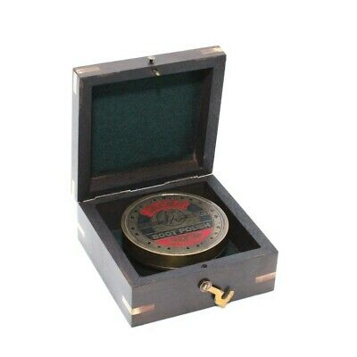 'Jacko Boot Polish' Themed Vintage Style Replica Sundial Compass In Wooden Box
